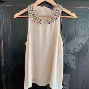 Beaded Collar Forever21 Sleeveless Sheer Blouse
